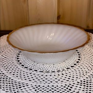 Vintage Fire King White Milk Glass SwirlGold Trim